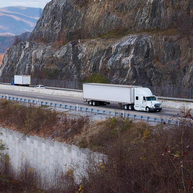 Truck crosses the mountains